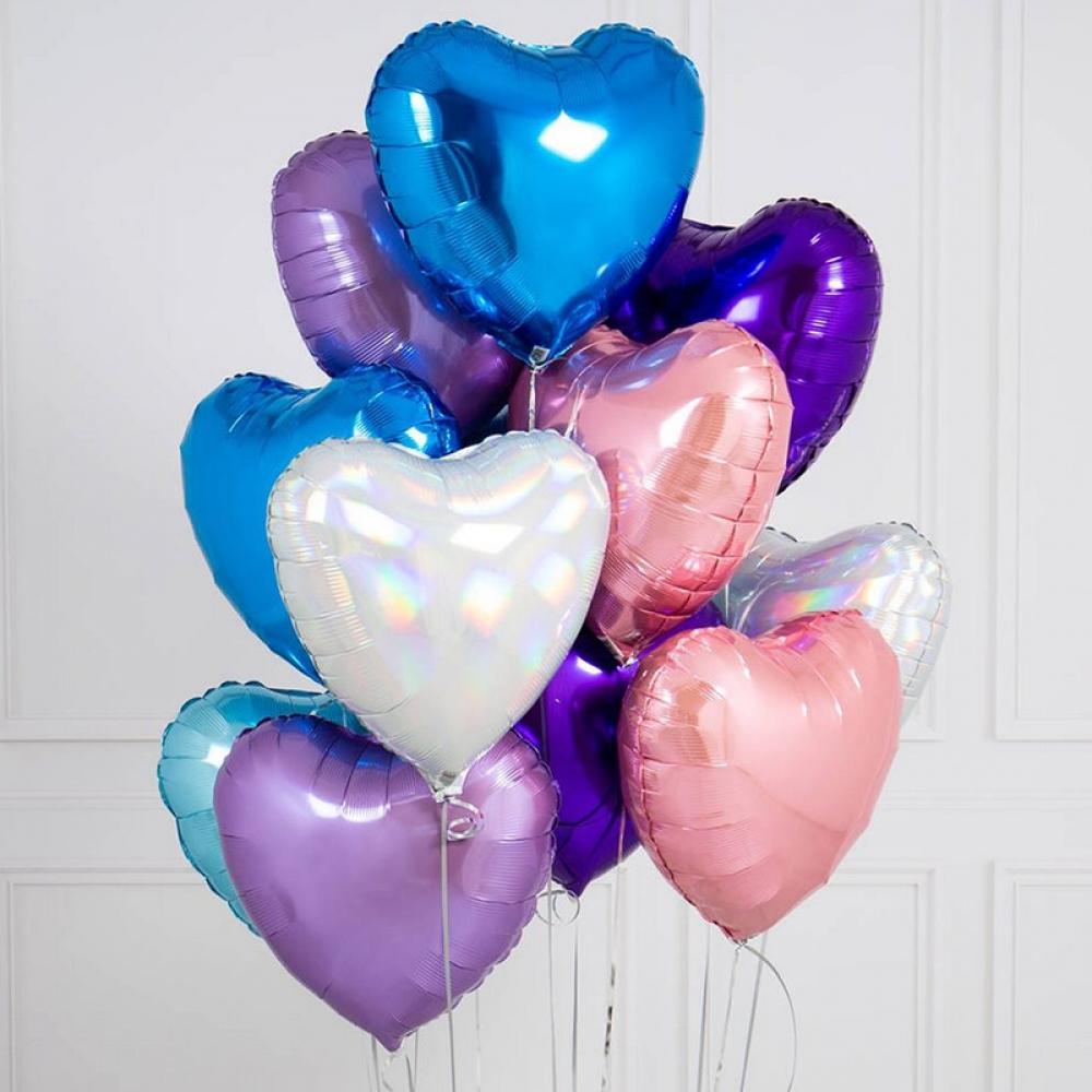 Набор из шариков сердечки цветной
