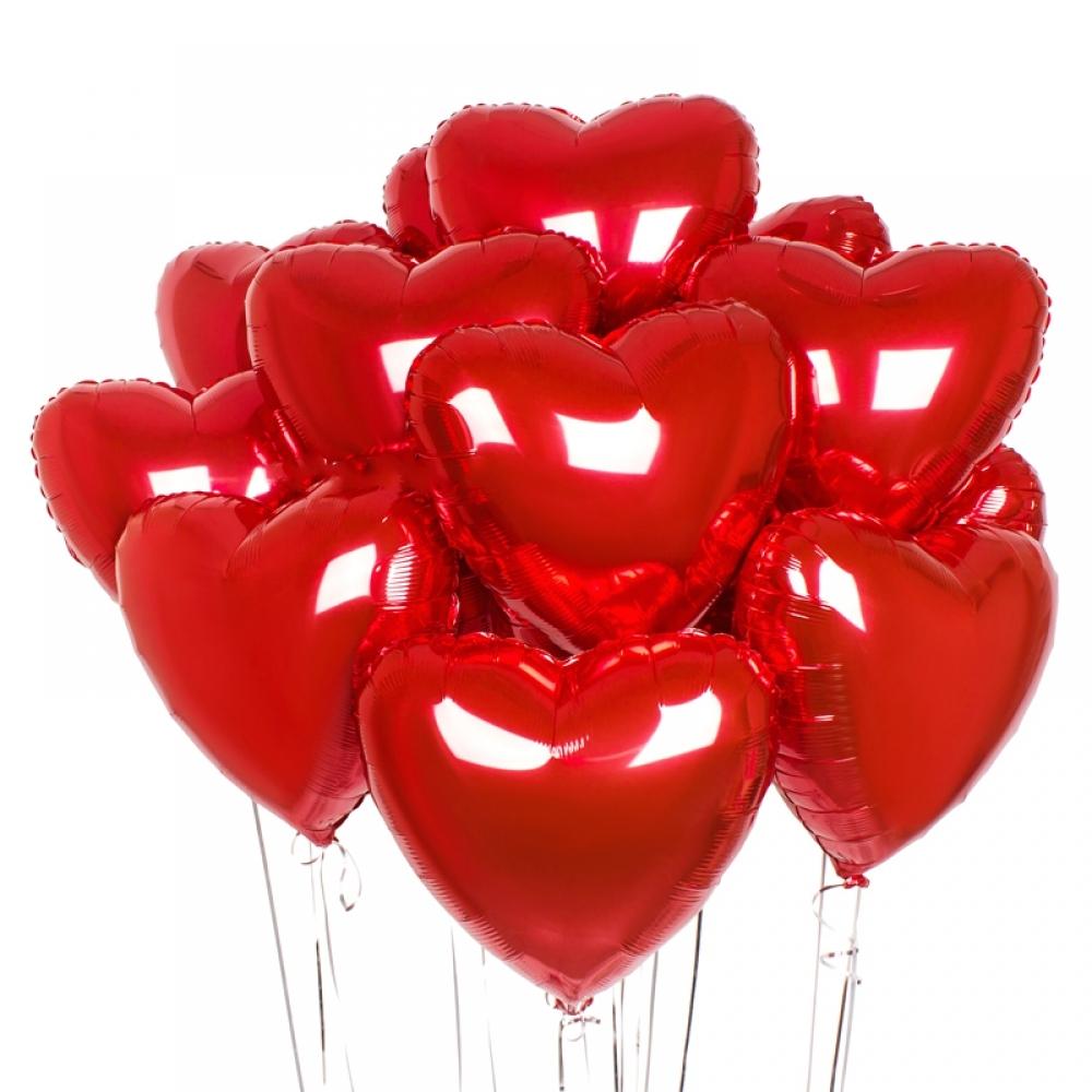 Набор из шариков сердечки красный