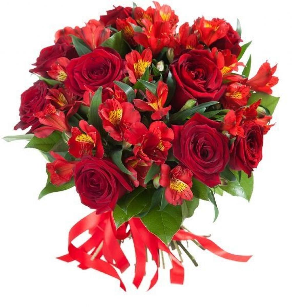 Букет красных альстромерий и роз