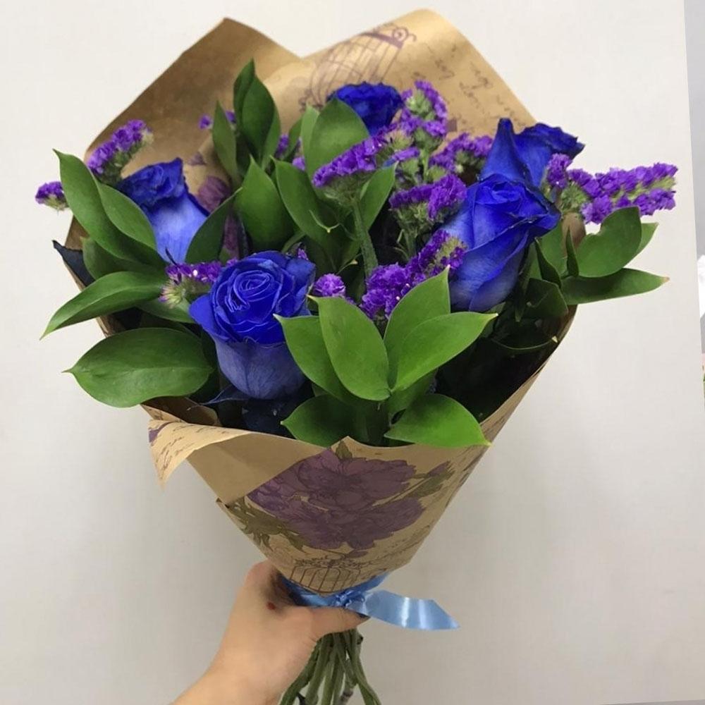 Синие розы и статица
