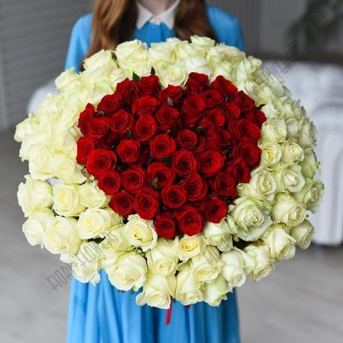 101 роза Красное сердце