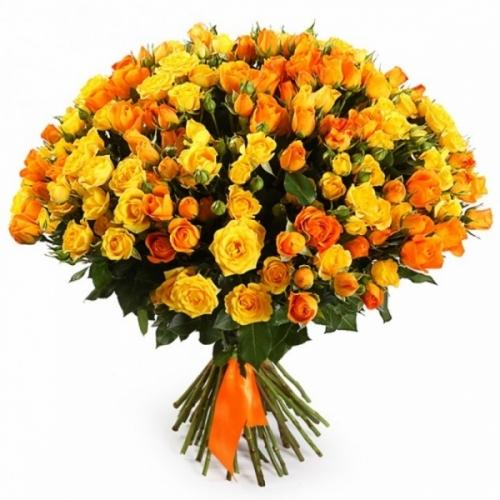 Оранжевая кустовая роза Микс